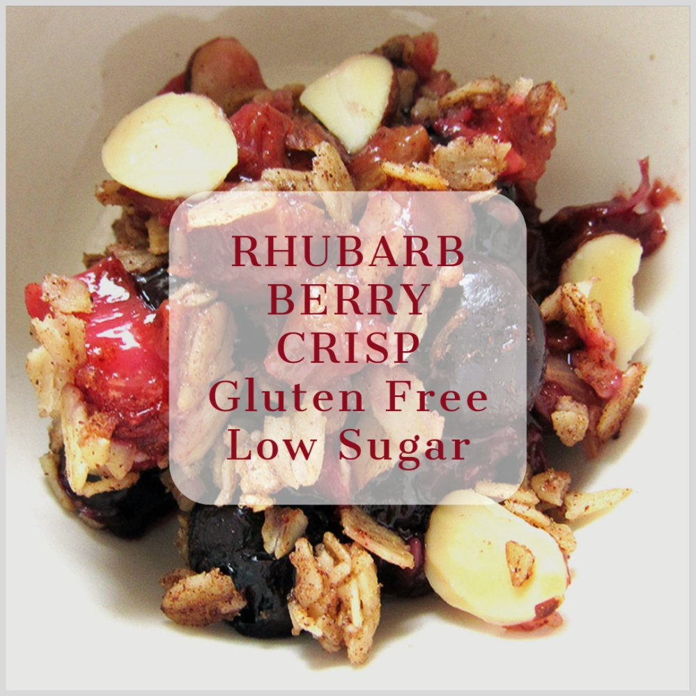 Rhubarb Berry Crisp Gluten Free Low Sugar - livingbewitchingly.com